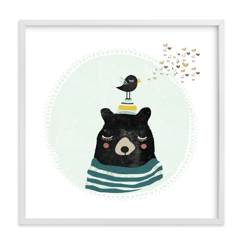 """""""Friendly Bear"""" - Limited Edition Art Print by Hannah Williams in beautiful frame options and a variety of sizes."""