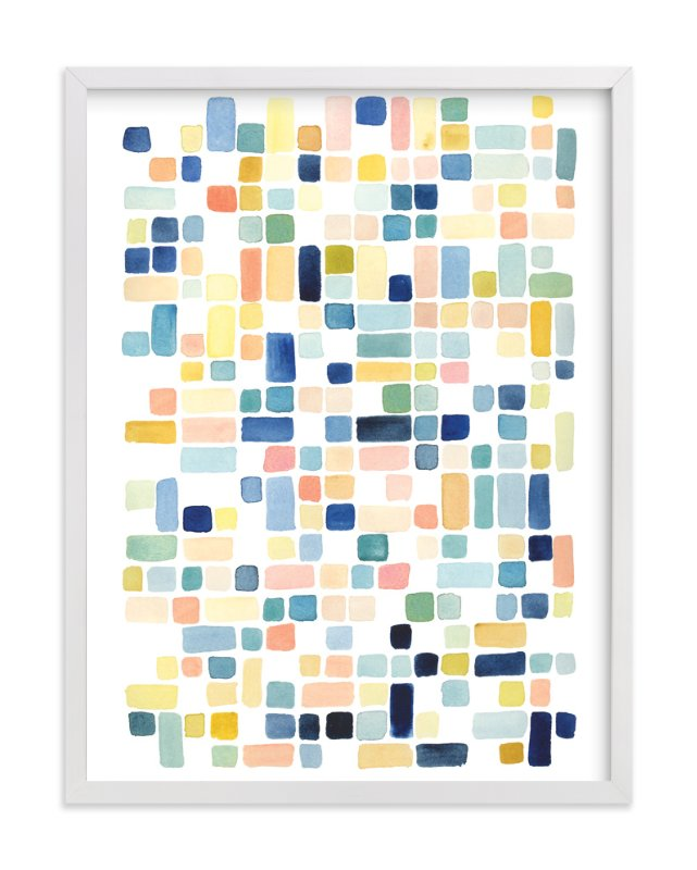 """Blue and Peach Squares"" - Art Print by Yao Cheng in beautiful frame options and a variety of sizes."