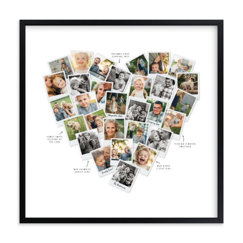 Captioned Heart Shaped Snapshot photo collage