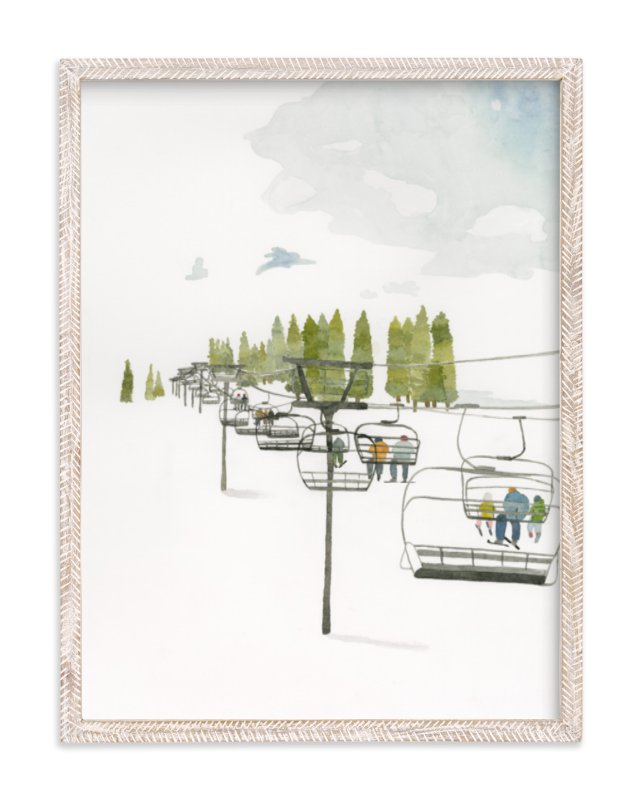 """Ski Lift"" - Art Print by Monica Loos in beautiful frame options and a variety of sizes."