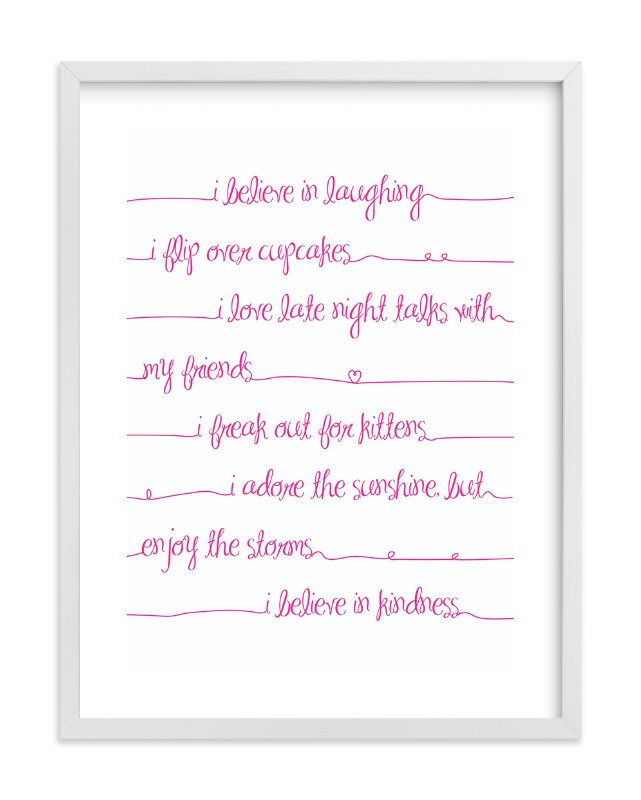 """Positive Script"" - Art Print by Rebecca Lowe in beautiful frame options and a variety of sizes."