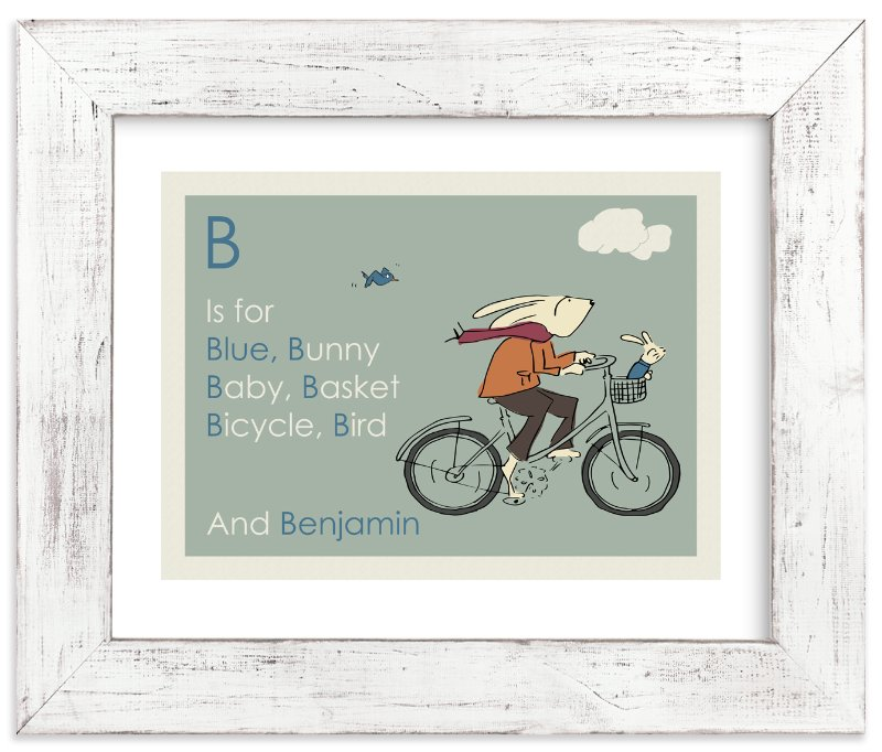 """""""B is for Bunny"""" - Art Print by Sandy Mitchell in beautiful frame options and a variety of sizes."""
