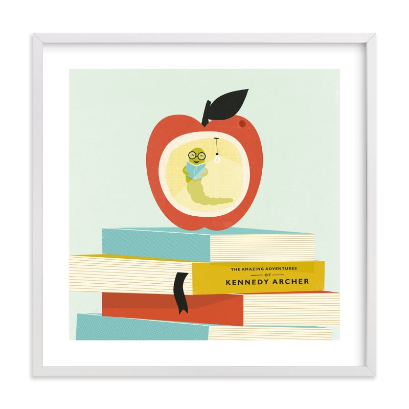 """Be a Bookworm"" - Children's Custom Art Print by Angela Marzuki in beautiful frame options and a variety of sizes."
