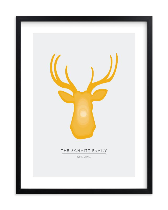 """Deer Head"" by Mariel Schmitt in beautiful frame options and a variety of sizes."