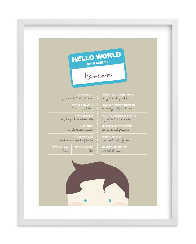 """""""Hello World"""" - Nursery Custom Art Print by Kristie Kern in beautiful frame options and a variety of sizes."""