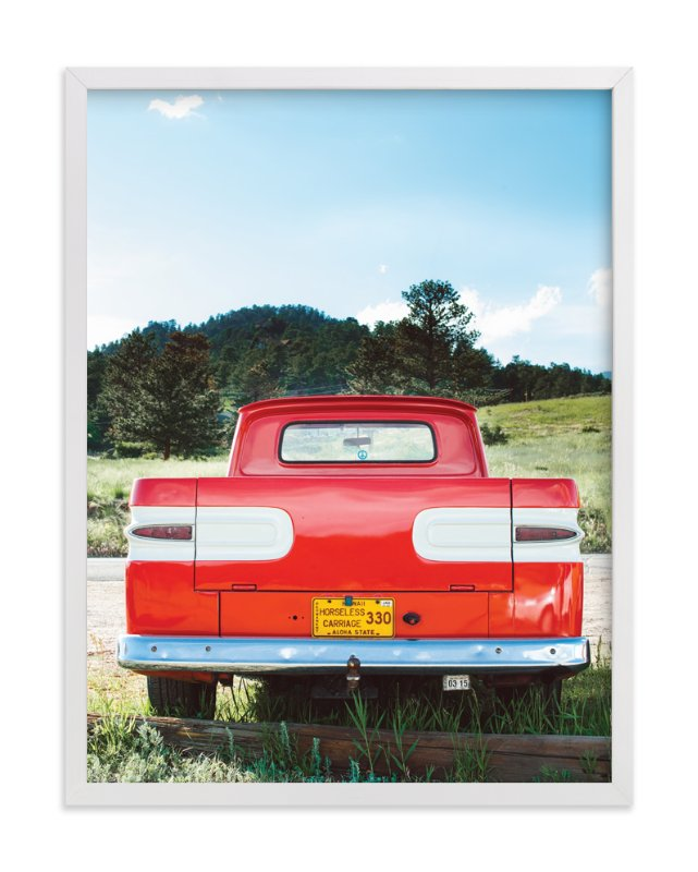 """""""Red Truck"""" - Art Print by Jennifer Little in beautiful frame options and a variety of sizes."""