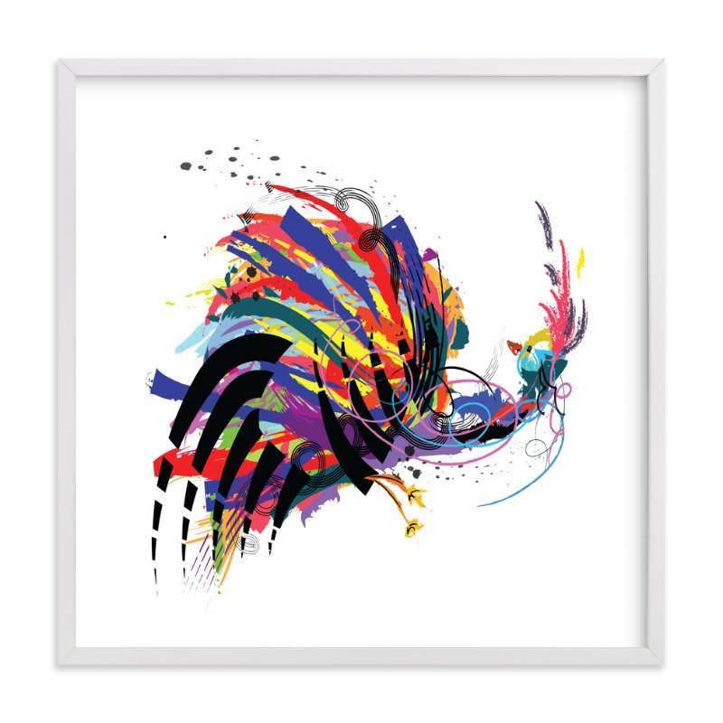 """Dancing Bird"" - Art Print by Sara Shashani in beautiful frame options and a variety of sizes."