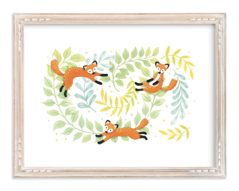 """Red Foxes"" - Art Print by Four Wet Feet Studio in beautiful frame options and a variety of sizes."