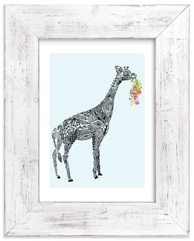 """Designer Giraffe with flowers"" - Art Print by Kanika Mathur in beautiful frame options and a variety of sizes."