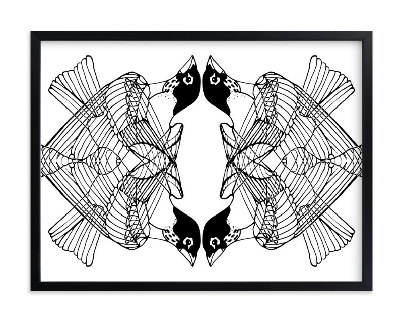 """4 Robins"" - Art Print by Kim Johnson in beautiful frame options and a variety of sizes."
