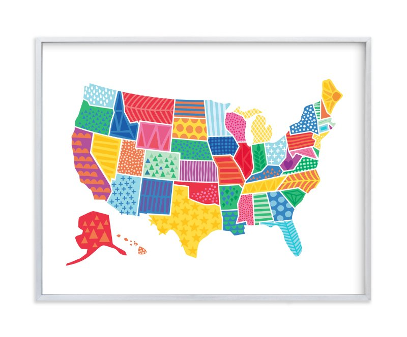 """""""Super States of America Map"""" - Art Print by Jessie Steury in beautiful frame options and a variety of sizes."""