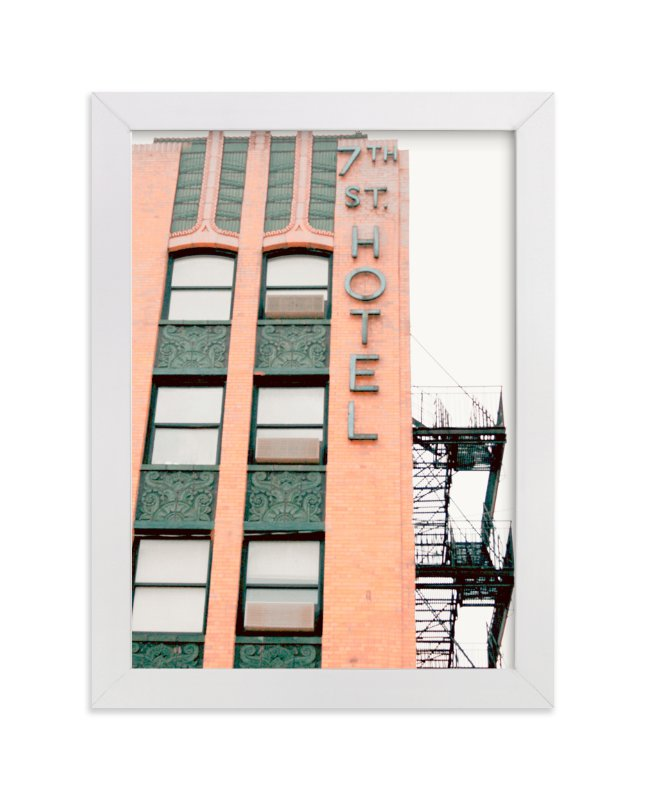 """7th Street Hotel"" - Limited Edition Art Print by Baumbirdy in beautiful frame options and a variety of sizes."