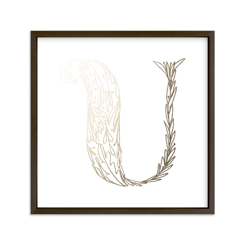 """Botanical U"" - Foil-pressed Art Print by Grace Kreinbrink in beautiful frame options and a variety of sizes."