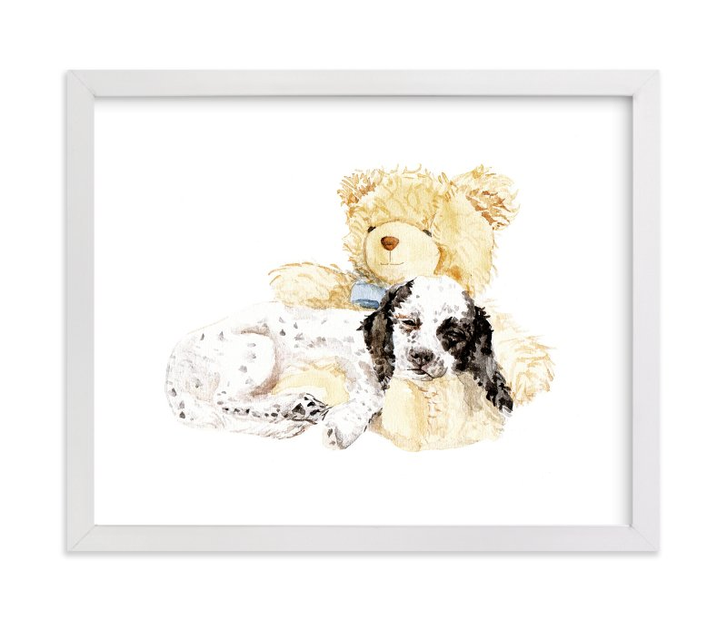 """""""Pup & Teddy: Best Friends Forever"""" - Art Print by Lauren Rogoff in beautiful frame options and a variety of sizes."""