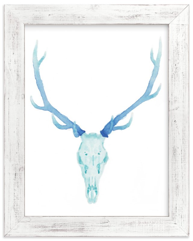 """Antlered "" - Art Print by Lily Hanna in beautiful frame options and a variety of sizes."