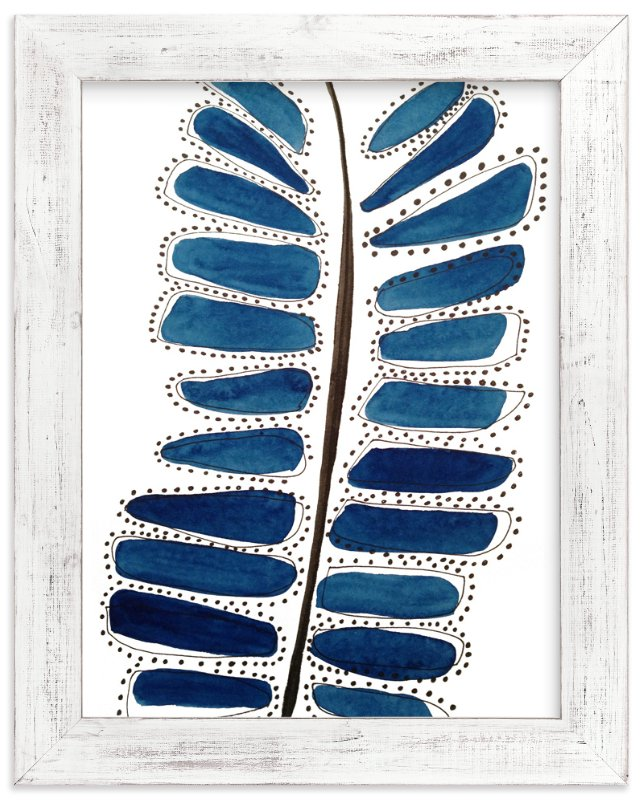 """""""Blue Leaf"""" - Art Print by Deborah Velasquez in beautiful frame options and a variety of sizes."""