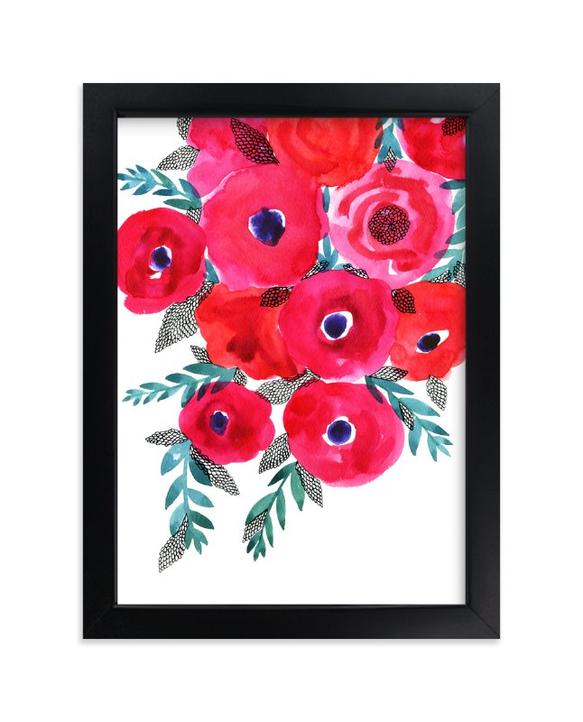 """""""Red flowers bouquet"""" - Limited Edition Art Print by Alexandra Dzh in beautiful frame options and a variety of sizes."""