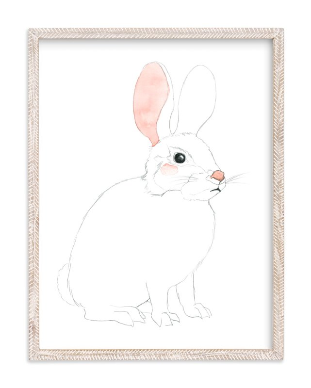 """""""Blushing Bunny"""" - Art Print by Molly Schafer in beautiful frame options and a variety of sizes."""