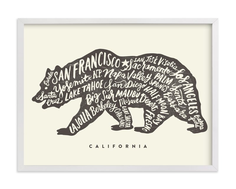 """""""California Bear"""" - Art Print by Griffinbell Paper Co. in beautiful frame options and a variety of sizes."""