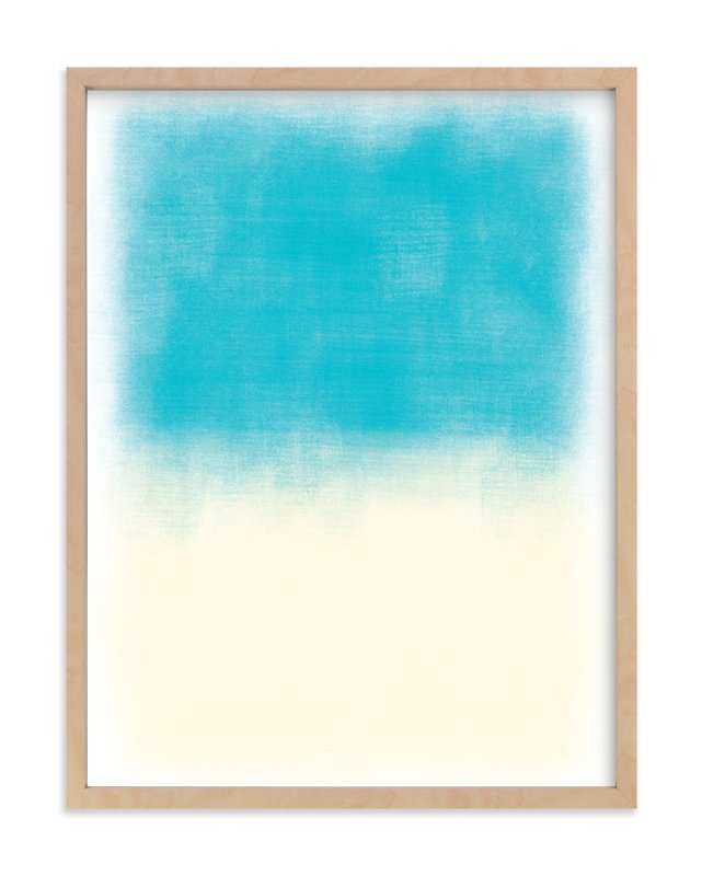"""Blue Colorblock"" - Art Print by That Girl Studio in beautiful frame options and a variety of sizes."