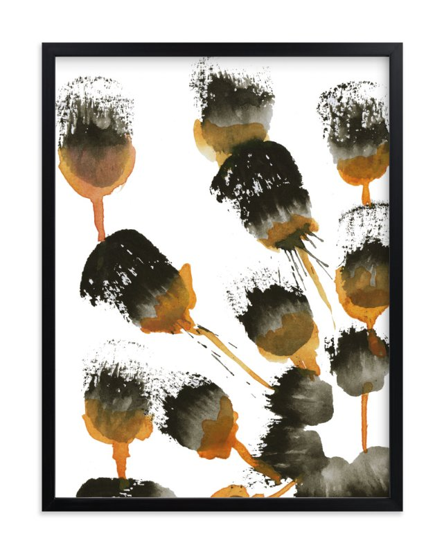 """""""Ochre Pods"""" - Art Print by Deborah Velasquez in beautiful frame options and a variety of sizes."""