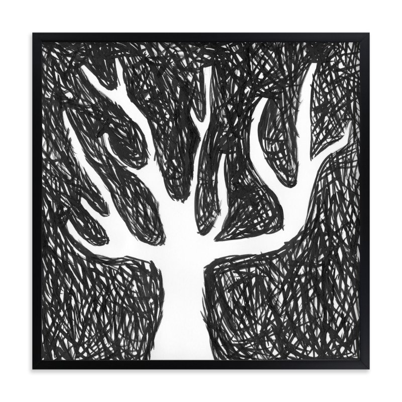 """Black Tree"" - Art Print by Kim Johnson in beautiful frame options and a variety of sizes."