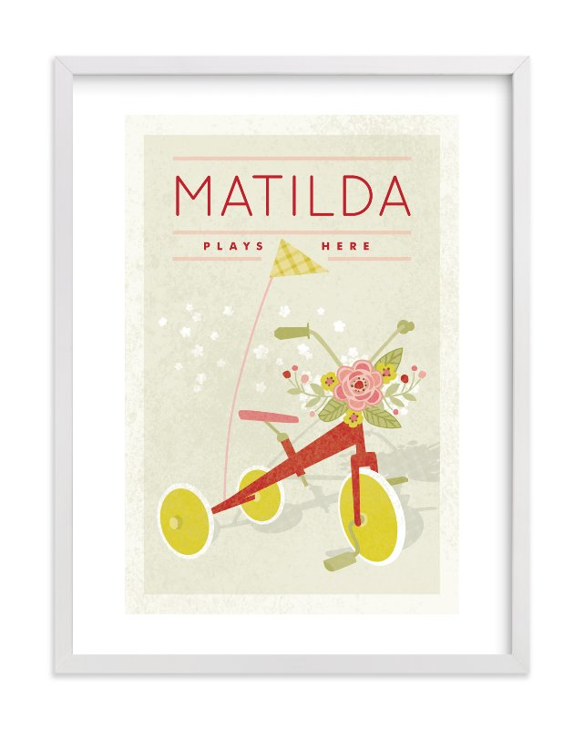 """Botanical Tricycle"" - Children's Custom Art Print by Yolanda Mariak Chendak in beautiful frame options and a variety of sizes."