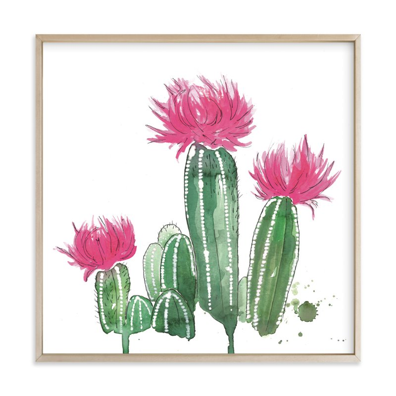 """The Blooming Cactus"" - Art Print by Kelsey McNatt in beautiful frame options and a variety of sizes."