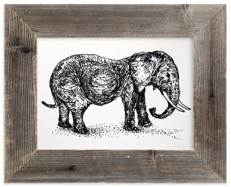 """A pregnant elephant"" - Art Print by XL in beautiful frame options and a variety of sizes."
