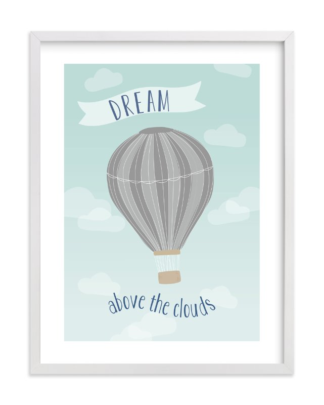"""Hot Air Balloon in the Clouds"" - Art Print by Kayley Miller in beautiful frame options and a variety of sizes."