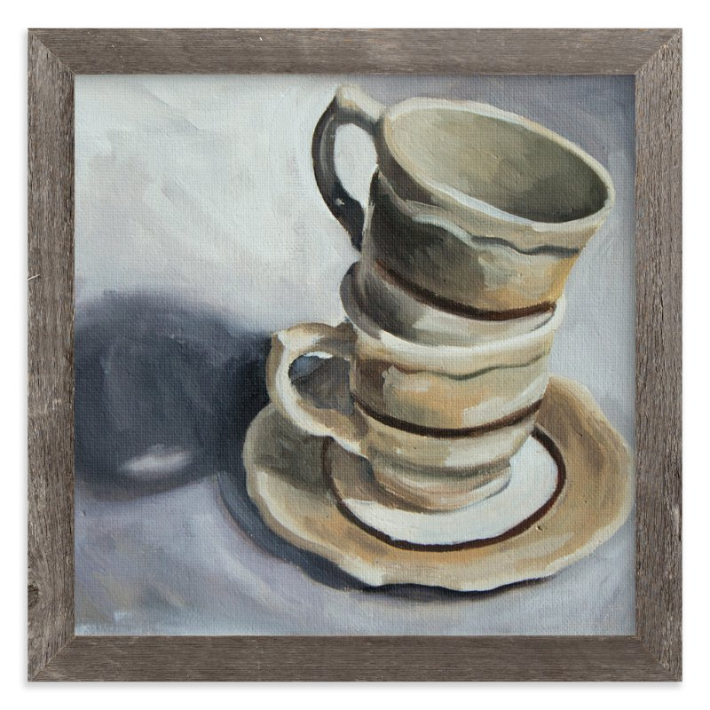 """Stacked Coffee Still Life in Oil"" - Art Print by Two if by Sea Studios in beautiful frame options and a variety of sizes."