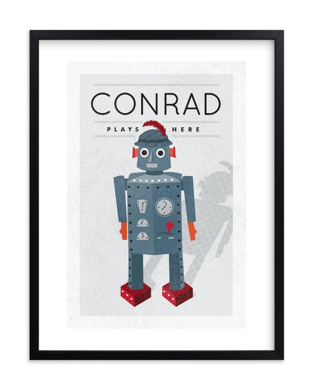 """Feathered Robot"" - Children's Custom Art Print by Yolanda Mariak Chendak in beautiful frame options and a variety of sizes."