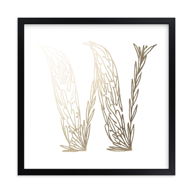 """Botanical W"" - Foil-pressed Art Print by Grace Kreinbrink in beautiful frame options and a variety of sizes."