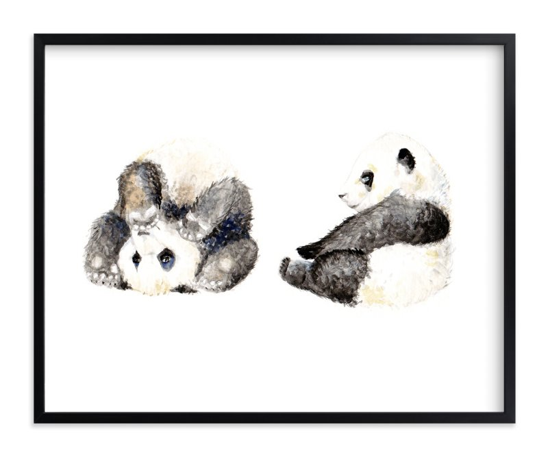 """""""Playful pandas"""" - Art Print by Lauren Rogoff in beautiful frame options and a variety of sizes."""