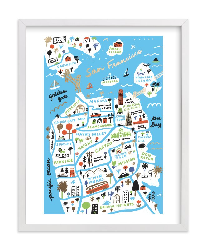 """""""I Love San Francisco"""" - Foil-pressed Art Print by Jordan Sondler in beautiful frame options and a variety of sizes."""