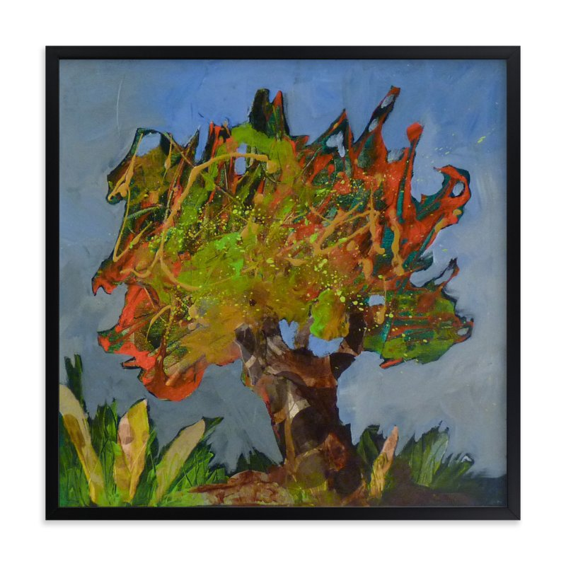 """""""Son arbre orange"""" - Art Print by Johanne Roy in beautiful frame options and a variety of sizes."""