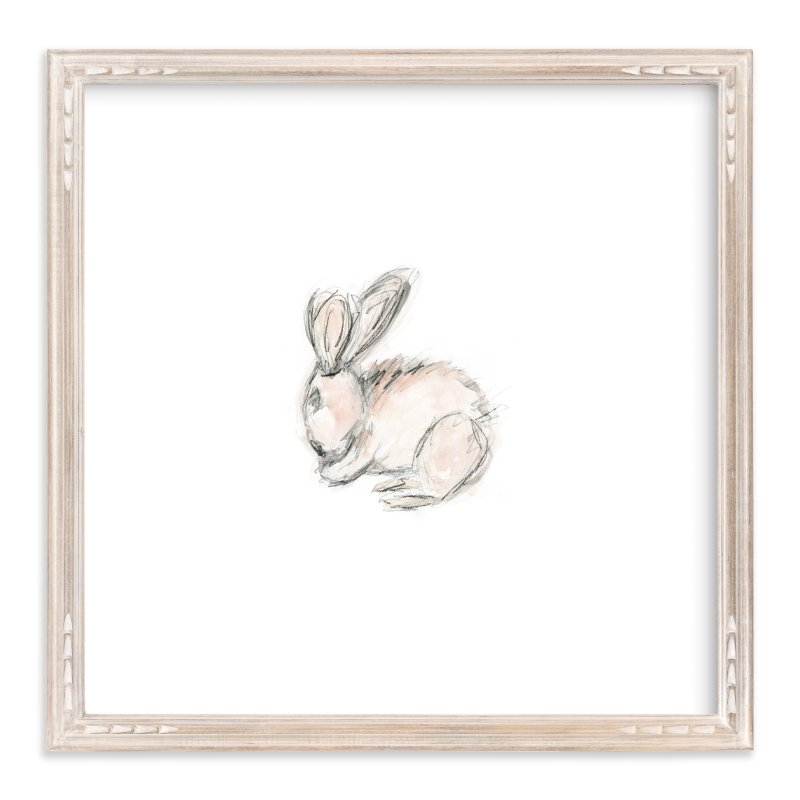 """""""Little Bunny Blue"""" - Art Print by Mande in beautiful frame options and a variety of sizes."""