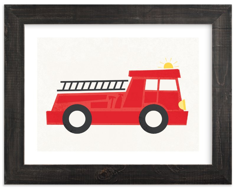 """Fierce Firetruck"" - Art Print by Jessie Steury in beautiful frame options and a variety of sizes."