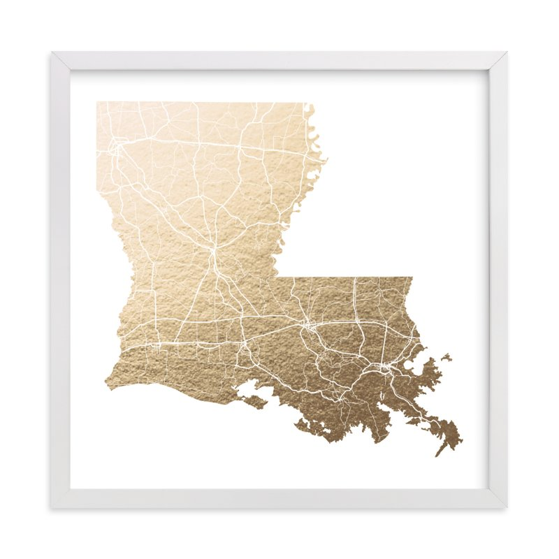 Louisiana Map FoilPressed Wall Art By GeekInk Design Minted - Louisana map