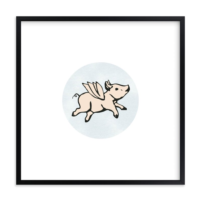 """""""When Pigs Fly"""" - Limited Edition Art Print by Katherine Moynagh in beautiful frame options and a variety of sizes."""