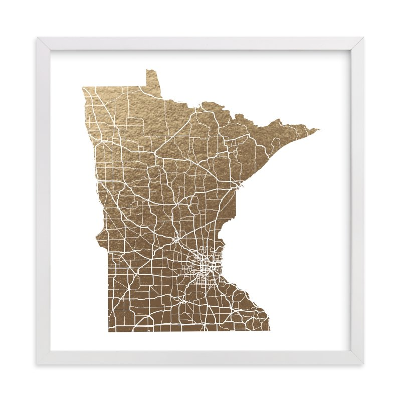 """Minnesota Map"" - Foil-pressed Art Print by GeekInk Design in beautiful frame options and a variety of sizes."