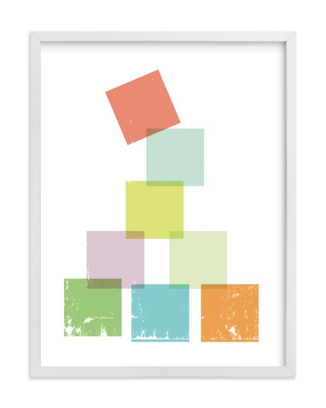 """""""Stack the Blocks"""" - Art Print by Design Lotus in beautiful frame options and a variety of sizes."""