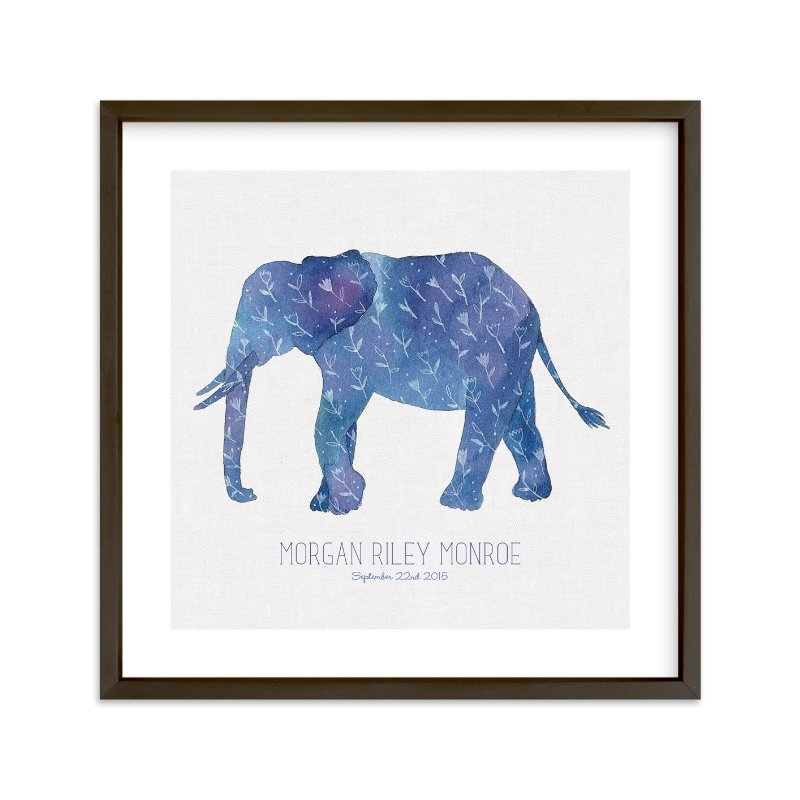 """Little Painted Elephant"" - Children's Custom Art Print by Melissa Kelman in beautiful frame options and a variety of sizes."