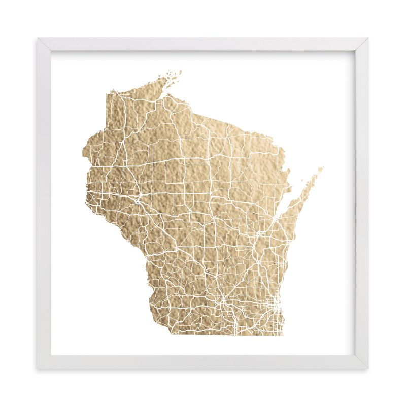 Wisconsin Map FoilPressed Wall Art By GeekInk Design Minted - Wiscinsin map