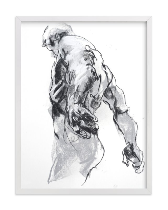 """""""Drawing 369 - Standing Man"""" - Art Print by Derek overfield in beautiful frame options and a variety of sizes."""