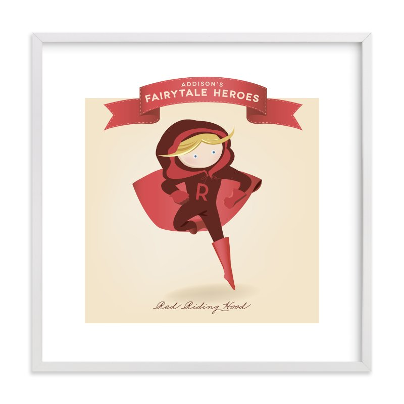 """Fairytale Superhero Red Riding Hood"" - Children's Custom Art Print by Lori Wemple in beautiful frame options and a variety of sizes."
