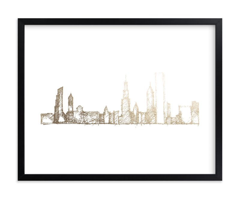 """""""Chicago Skyline"""" - Foil-pressed Art Print by Phrosne Ras in beautiful frame options and a variety of sizes."""