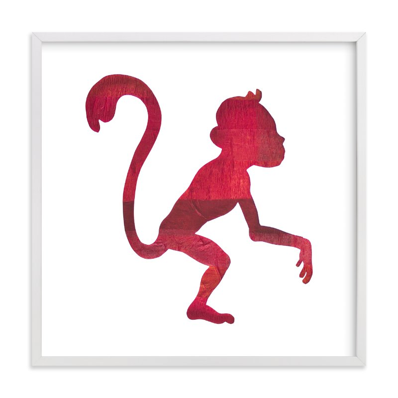 """""""Red Party Monkey"""" - Art Print by Jeff Preuss in beautiful frame options and a variety of sizes."""