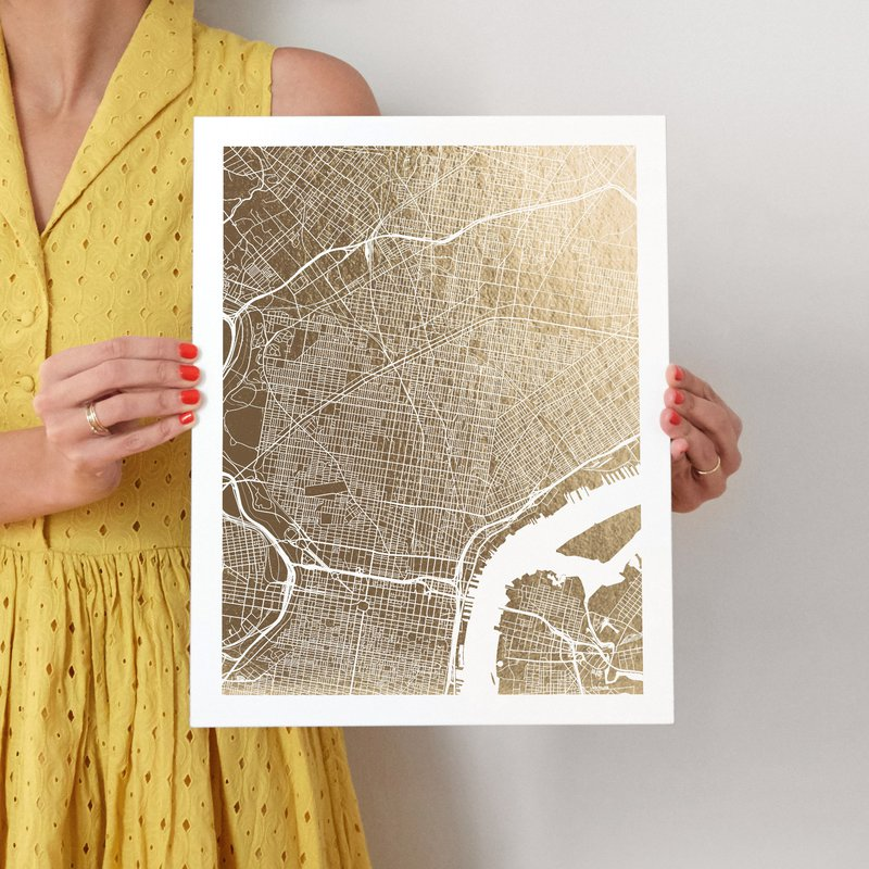 For Scale Philadelphia Map Foil Pressed Wall Art