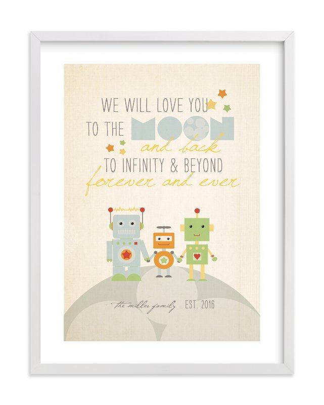 """Robot Family"" - Nursery Custom Art Print by Dawn Jasper in beautiful frame options and a variety of sizes."